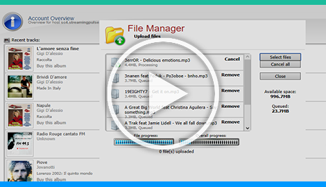 The Centova Cast Autodj file manager provides a complete management interface for uploading and organizing your station's media files.